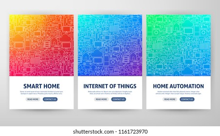 Internet of Things Flyer Concepts. Vector Illustration of Outline Web Banner Design.