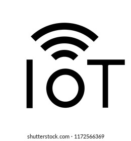 Internet of things glyph icon. Silhouette symbol. IoT signal. Artificial intelligence. Negative space. Vector isolated illustration