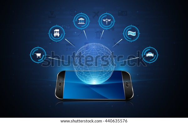 Internet Things Icon Hologram Interactive Telephone Stock Vector