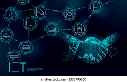 Internet of things icon work handshake concept. Smart city wireless communication network IOT ICT. Home intelligent system automation computer online vector illustration