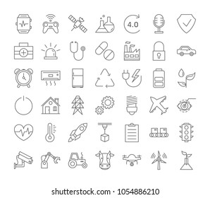 Internet of things icons set linear illustrations.