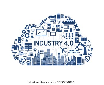 Internet of Things, Industry 4.0, cloud, icon