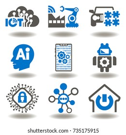 Internet Of Things (IOT), Artificial Intelligence (AI), Connectivity, Innovative Smart Cyber Security Digital Information Technologies (IT) Vector Icon Set. Mind Home, Industry, Communication Network.