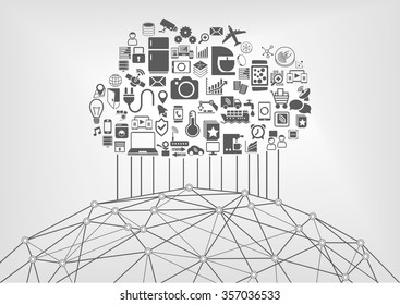 Internet of things (IOT) and cloud computing concept for connected devices in the world wide web. Vector illustration with icons