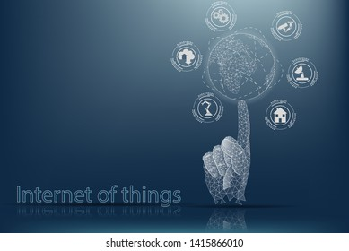 Internet of things (IOT). The concept of managing things via the Internet. The human hand holds the globe on its finger.
