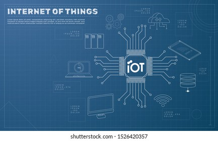 Internet of things (IoT) concept. symbol connected with icons of typical IoT. Intelligent pc, cloud, smartphone, machine. Blueprint conceptEPS 10. Vector illustration.