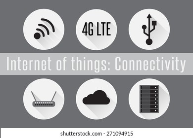 Internet of Things (IoT): Connectivity. Set of 6 flat connection icons. Vector Illustration.
