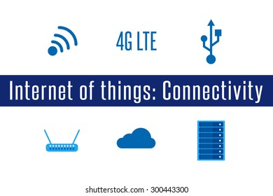 Internet of Things, IoT. Connectivity. Set of 6 flat connection icons. Vector Illustration.
