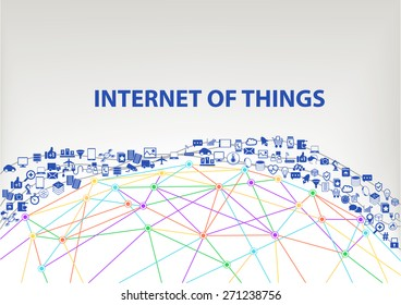 Internet of things (IOT) global vector background. Connected devices floating through the air above a wireframe grid model of the earth. Icons and symbols of smart phones, sensors, objects.