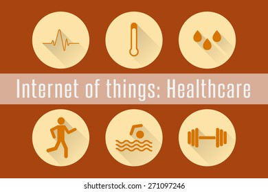 Internet of Things (IoT): Healthcare. Set of 6 flat icons. Vector Illustration.