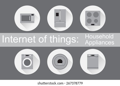 Internet of Things (IoT): Home Appliances. Set of 6 flat icons. Vector Illustration