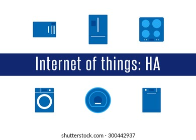 Internet of Things, IoT. Home Appliances. Set of 6 flat icons. Vector Illustration