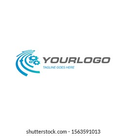 Internet of things (IOT), logo template. Network cloud and Fast line vector design