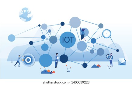 Internet of things , IOT, network, Everything connectivity device concept, business with internet, with small people around. Vector illustration for web, print, presentation.