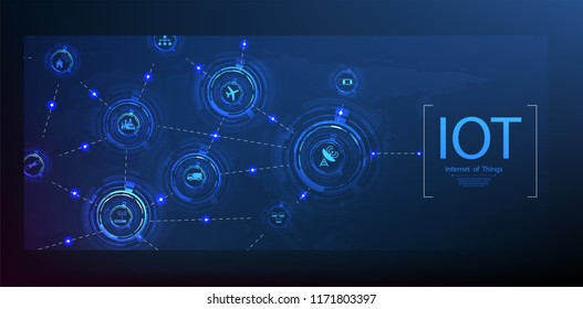 Internet of things (IoT) and networking concept for connected devices. Spider web of network connections with on a futuristic blue background
