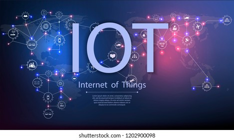 Internet of things (IoT) and networking concept for connected devices. Spider web of network connections with on a futuristic blue background EPS10