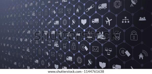Интернет вещей (IoT) и сетевая концепция для подключенных устройств. Паук сетевых соединений с на футуристическом синем фоне EPS10