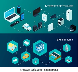 Internet of things iot and smart city 2 horizontal isometric banners set dark background isolated vector illustration