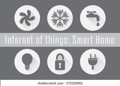 Internet of Things (IoT): Smart Home. Set of 6 flat icons. Vector Illustration.