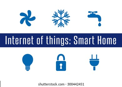 Internet of Things, IoT. Smart Home. Set of 6 flat icons. Vector Illustration.