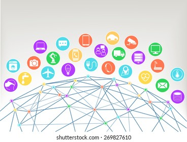 Internet of things (Iot) vector illustration background.Icons / symbols for various connected devices with wireframe of world and colorful intersections within the network.