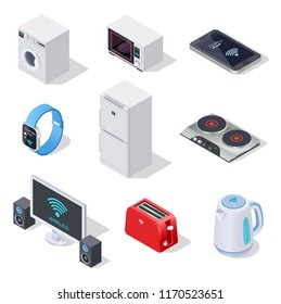 Internet things isometric icons. Household appliances. Wireless electronic devices vector 3d isolated set. Illustration of wireless household isometric, microwave and fridge, washer control