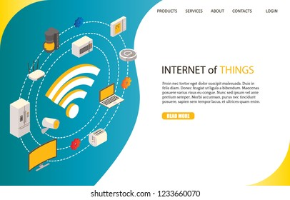 Internet of things landing page website template. Vector isometric illustration. Smart home technology, home automation or Iot concept.
