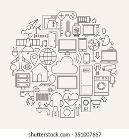 Internet of Things Line Icons Set Circle Shape. Vector Illustration of Smart Home Technology Modern Objects.