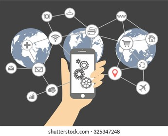 Internet of things and mobile computing concept. Network of connected mobile devices such as smart phone, tablet, thermostat or smart home. Illustration of network with hand holding tablet.