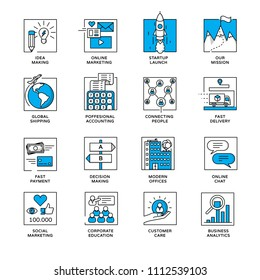 Internet of things and services icons. Modern illustration in linear style infographics.