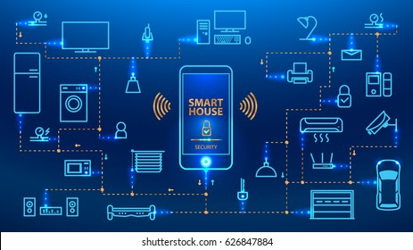 The Internet of things. The smart phone control the devices in the house. Smart home will obey the commands from your smartphone. Concept. vector