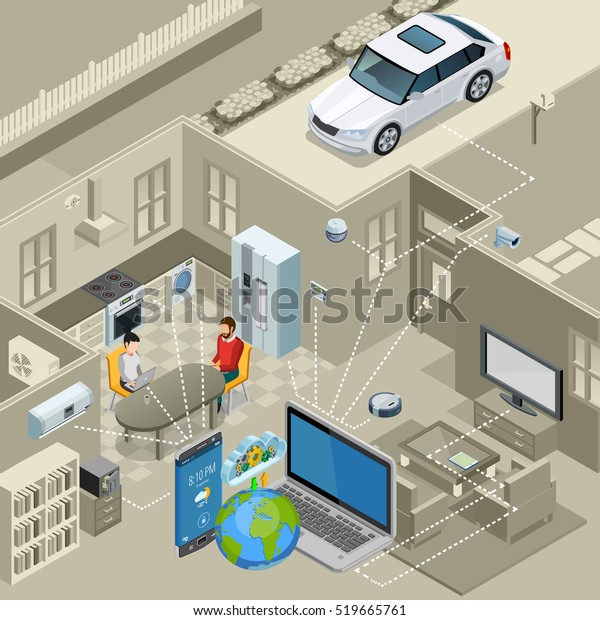 Internet of things smart urban home interior concept isometric poster with remote controlled appliances abstract vector illustration