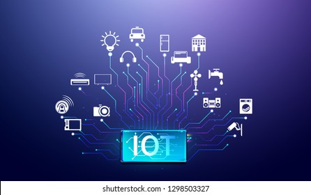 Internet of things. Smartphone network communications with things and objects, mobile device connectivity concept Vector.