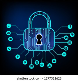 internet of things technology, Closed Padlock on digital background, cyber security