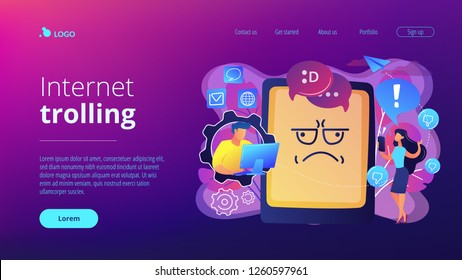 Internet troll quarreling and upsetting user online and tablet with troll face. Internet trolling, digital harassment, internet behaviour concept. Website vibrant violet landing web page template.