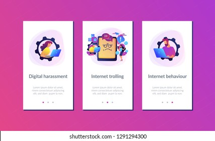 Internet troll quarreling and upsetting user online and tablet with troll face. Internet trolling, digital harassment, internet behaviour concept. Mobile UI UX GUI template, app interface wireframe