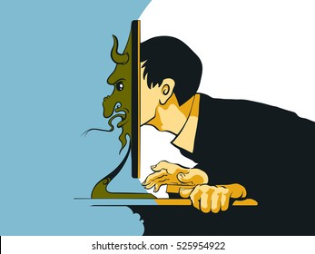 Internet Troll sitting at the computer. Vector illustration