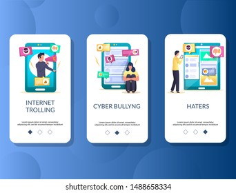 Internet trolling, Cyberbullying, Haters mobile app onboarding screens. Menu banner vector template for website and application development. Digital harassment, bullying, online mockery.