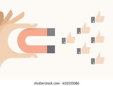 Internet user attracting thumbs up icons holding abstract magnet. Idea - Social networking, article feedback and appreciation, online relationships and messaging concepts.