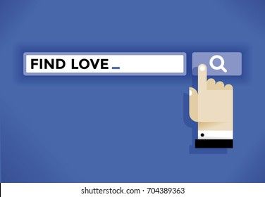 Internet user hand cursor icon finding a love in web search engine. Idea - Online dating services for romantic or sexual relationships., social networking (Facebook etc.), solitude and loneliness etc.
