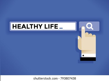 Internet user hand cursor icon finding healthy life information in internet. Idea - Healthy lifestyle living, diet, vegetarianism, body care, sport and fitness etc.