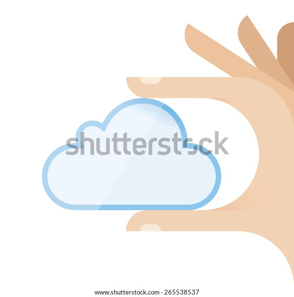 Internet user hand holding cloud computing symbol. Idea - New technologies for centralized data storage servers, file transfer, hosting business and online access to computer services or resources.