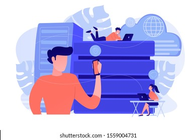 Internet users with proxy server using big data. Anonymity on internet and data protection, online privacy, anonymous browsing, proxy browser concept. Vector isolated illustration.