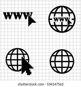 Internet - vector  icons; set