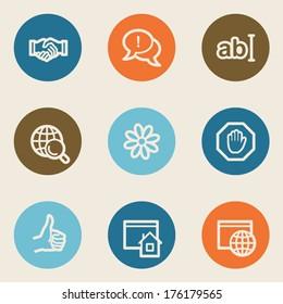 Internet web icon set 1, color circle buttons