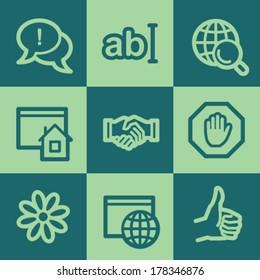 Internet web icon set 1, green square buttons set