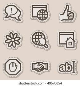 Internet web icons, brown contour sticker series