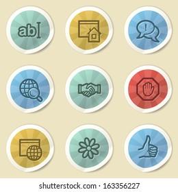 Internet web icons, color vintage stickers