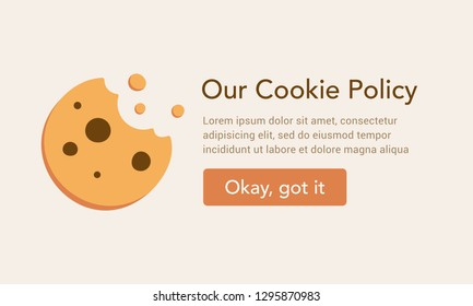 Internet web pop up for cookie policy notification. Form and button and cool cookie illustration. Good business idea.