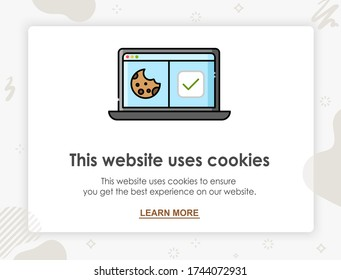 Internet web pop up for cookie policy notification. This website uses cookies. Flat design modern vector illustration concept.